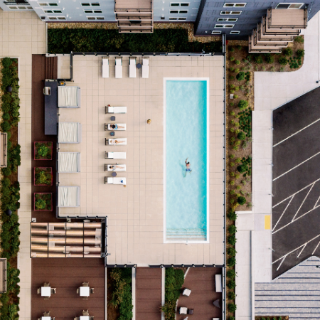 Overhead view of pool and sundeck