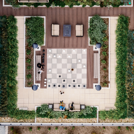 overhead view of lifesize chessboard and couryard