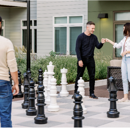 people playing outdoor chess