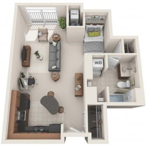 studio floor plan, studio apartment