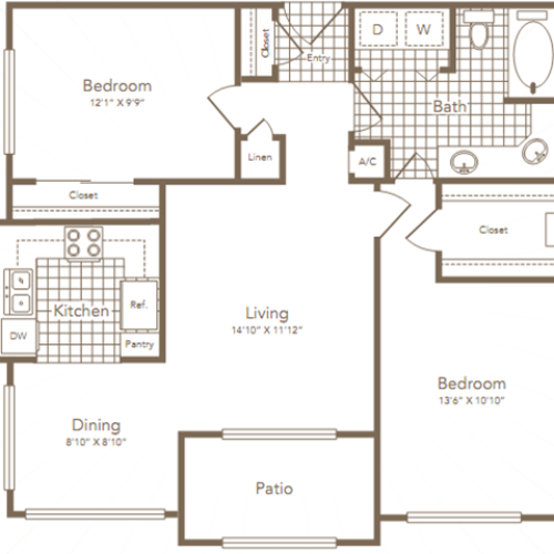 Two Bedroom | One Bathroom