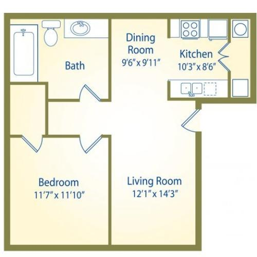 The Maple | 1 bed 1 bath | from 684 square feet