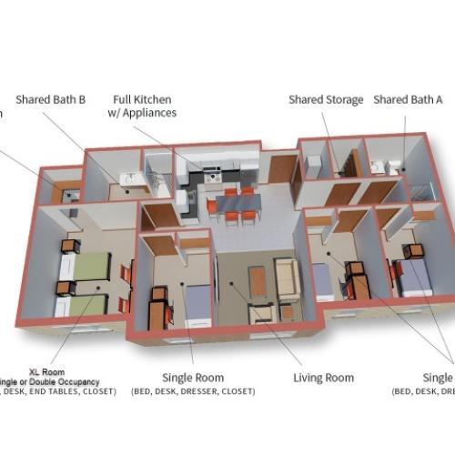 4 Bedroom 2 Bathroom -- Red Delicious Floor Plan
