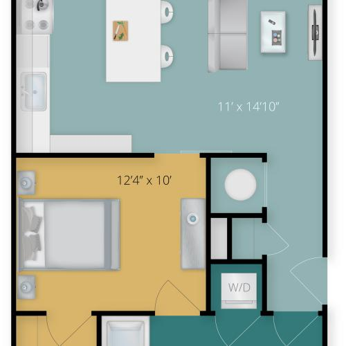 Jr. 1 Bedroom Floor Plan | Luxury Apartments In Towson MD | Flats at 703