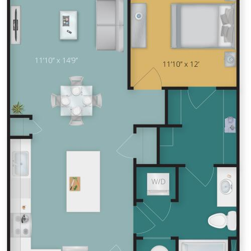 1 Bedroom Floor Plan | Towson Luxury Apartments | Flats at 703