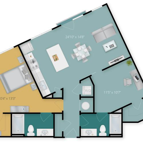 1 Bdrm Floor Plan | Towson Maryland Luxury Apartments | Flats at 703