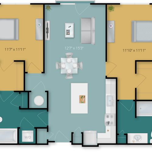 2 Bedroom Floor Plan | Luxury Apartments In Towson MD | Flats at 703