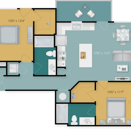 2 Bdrm Floor Plan | Downtown Towson Apartments | Flats at 703
