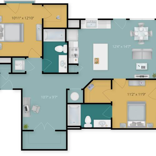 Floor Plan 2 | Towson Maryland Luxury Apartments | Flats at 703
