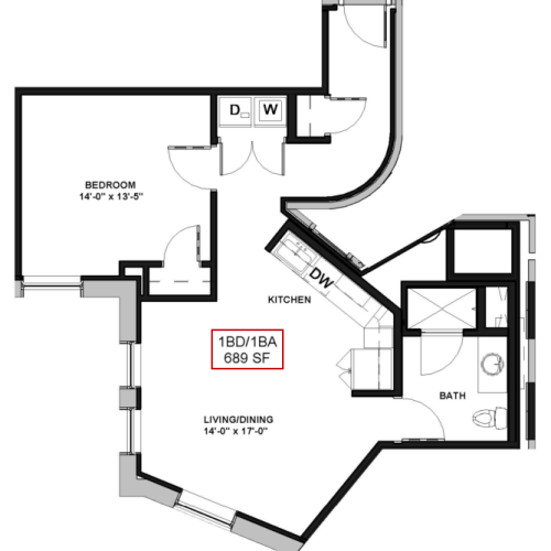 Floor Plan 6   Luxury Apartments In Rochester New York   Spectra at Sibley Square