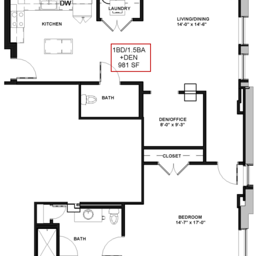 Floor Plan 16 | Luxury Apartments In Rochester New York | Spectra at Sibley Square
