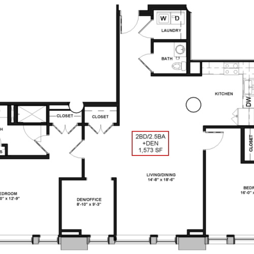 Floor Plan 26 | Luxury Apartments In Rochester New York | Spectra at Sibley Square