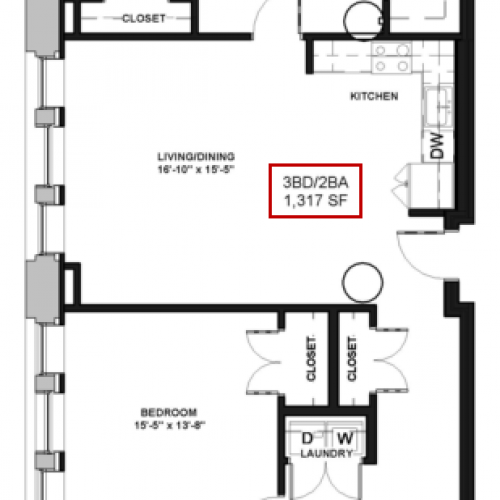 Floor Plan 30 | Apartments For Rent In Rochester Ny | Spectra at Sibley Square