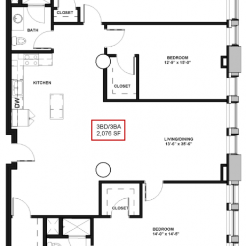 Floor Plan 31 | Luxury Apartments In Rochester New York | Spectra at Sibley Square