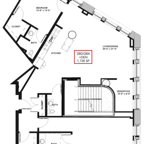 Floor Plan 21 | Luxury Apartments In Rochester New York | Spectra at Sibley Square