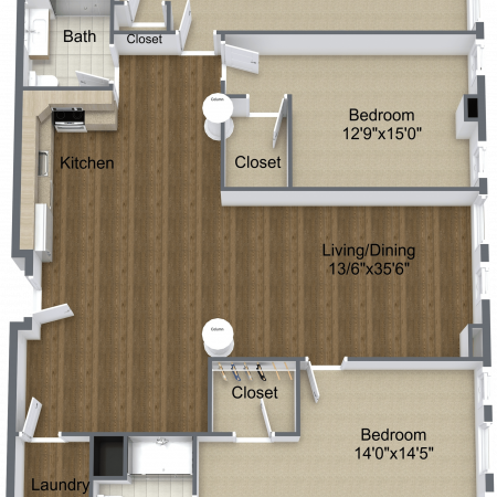 3 Bedroom Floor Plan | Apartment Homes In Rochester | Spectra at Sibley Square