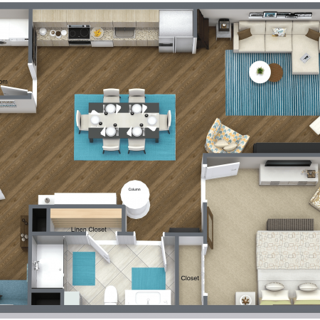 1 Bedroom Floor Plan | Apartments in Rochester | Spectra at Sibley Square