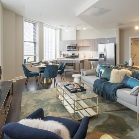 Living Room | Apartments In Rochester Ny | Spectra at Sibley Square