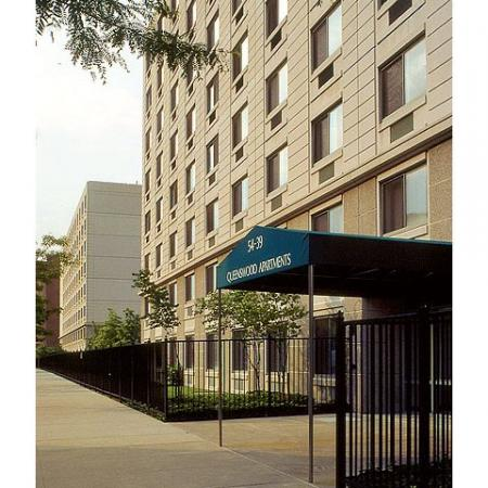 Queenswood Apartments, exterior, main covered entrance, property exterior, tall building and gray, trees