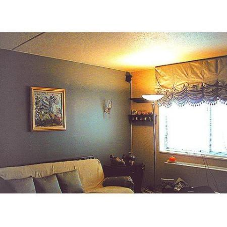 Queenswood Apartments, interior, large window, gray wall, couch, lamp, wall art