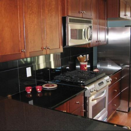 black granite kitchen counters with stainless steal appliances