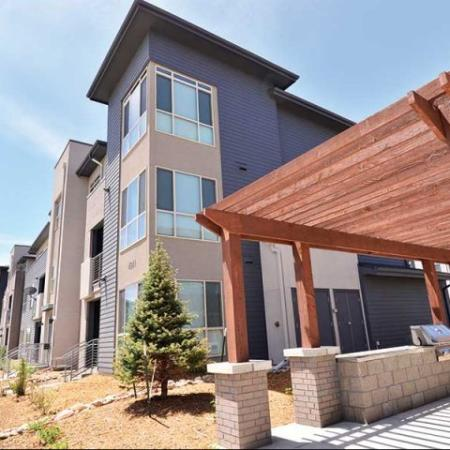 Side view of our welcoming Denver apartments for rent at The Aster Conservatory Green