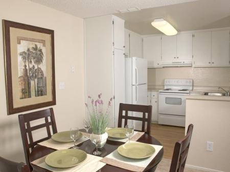 Kitchen and dining room at Belmont Apartment Homes, 1010 Power Ave., Pittsburg, CA