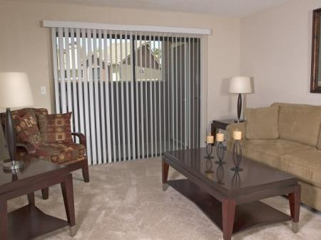 Living room at Belmont Apartment Homes, 1010 Power Ave., Pittsburg, CA