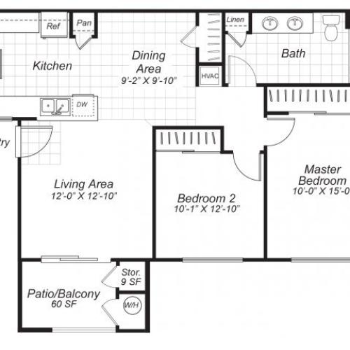 Two bedroom one bathroom B1 floor plan at Bristol Apartment Homes in Dixon, CA