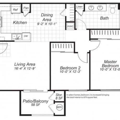 Two bedroom one bathroom B2 floor plan at Bristol Apartment Homes in Dixon, CA