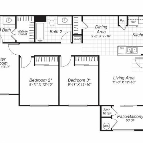 Three bedroom two bathroom C1 floor plan at Bristol Apartment Homes in Dixon, CA