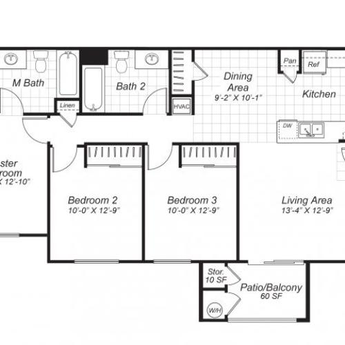 Three bedroom two bathroom C2 floor plan at Bristol Apartment Homes in Dixon, CA