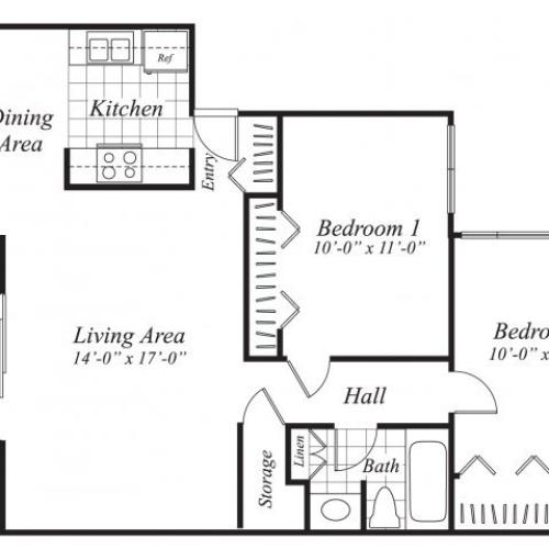 Two bedroom one bathroom B2 floor plan at Canyon Rim Apartments in San Diego, CA
