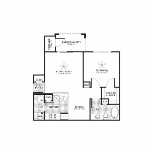 One bedroom one bathroom A1 Floorplan at Lakeland Estates Apartment Homes in Stafford, TX