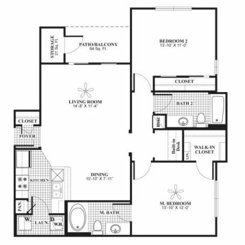 Two bedroom two bathroom B1 Floorplan at Lakeland Estates Apartment Homes in Stafford, TX