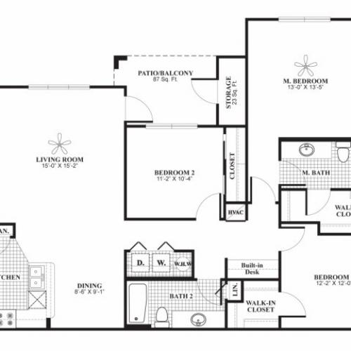 Three bedroom two bathroom B1 Floorplan at Lakeland Estates Apartment Homes in Stafford, TX