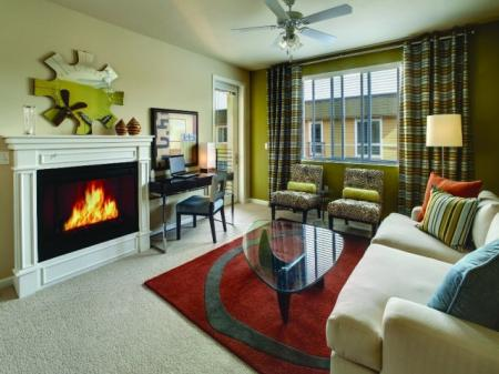 Cozy, electric fireplaces at Sanctuary Apartments in Renton, WA