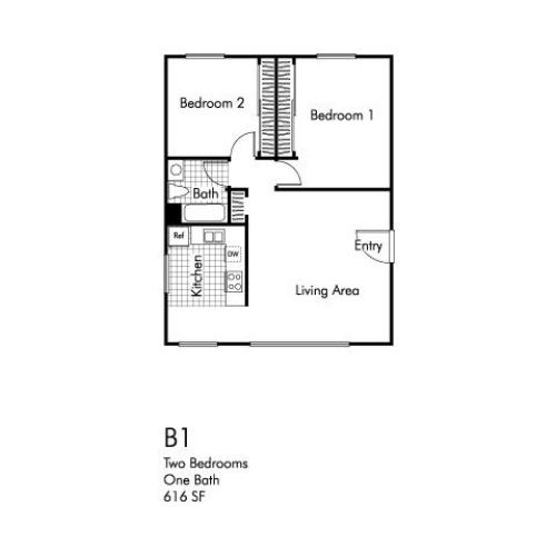 Two bedroom one bathroom B1 floorplan at Walden Glen Apartments in Buena Park, CA