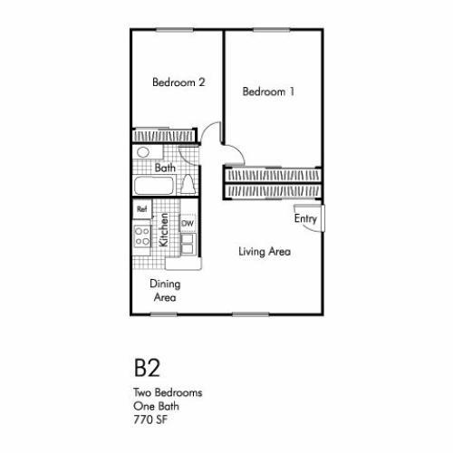 Two bedroom one bathroom B2 floorplan at Walden Glen Apartments in Buena Park, CA