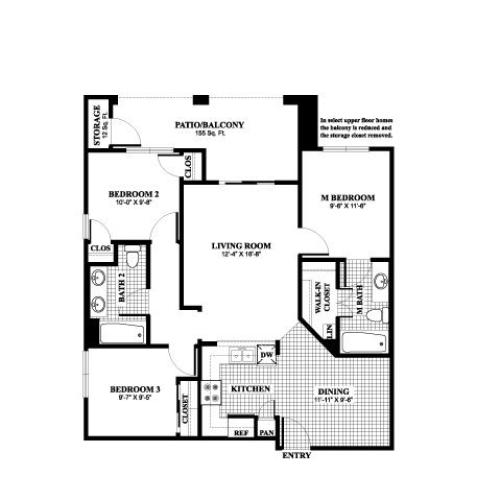 Three bedroom two bathroom C1 Floorplan at Muirlands at Windemere in San Ramon, CA