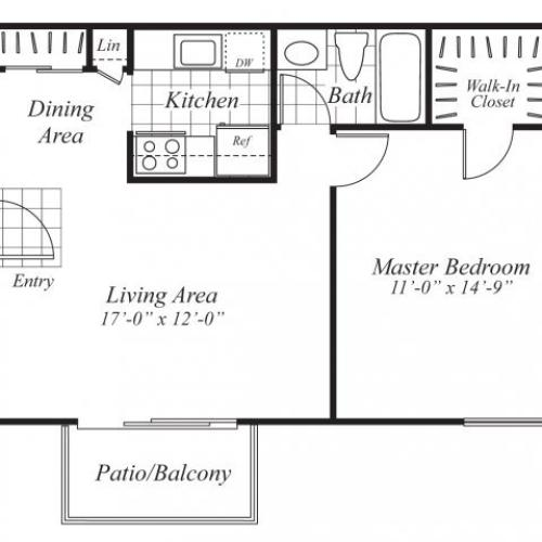 One bedroom one bathroom A4 Floorplan at Ridgemoor Apartment Homes in Lakewood, CO