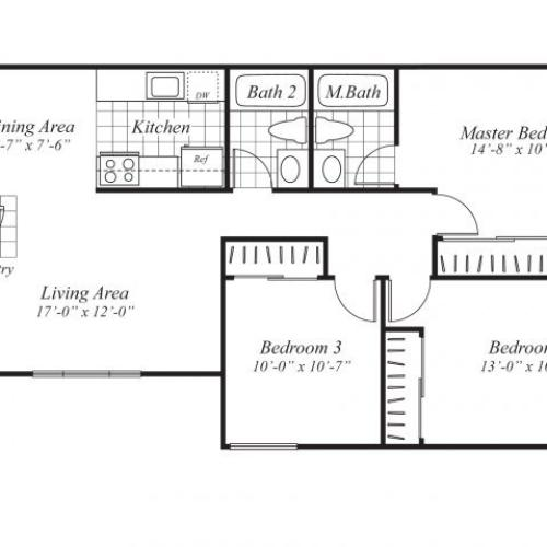 Three bedroom two bathroom C1 Floorplan at Ridgemoor Apartment Homes in Lakewood, CO