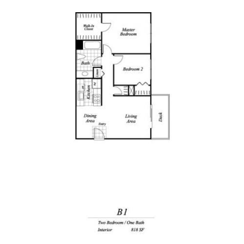 Two bedroom one bathroom B1 floorplan at Timberleaf Apartments in Lakewood, CO