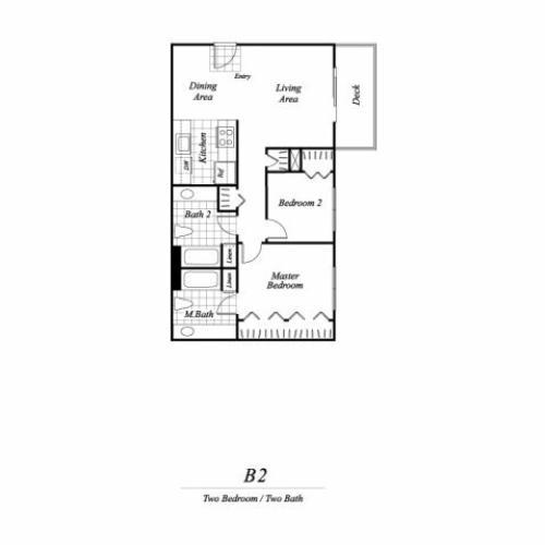 Two bedroom two bathroom B2 floorplan at Timberleaf Apartments in Lakewood, CO