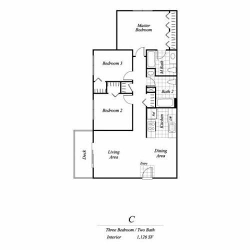 Three bedroom two bathroom C1 floorplan at Timberleaf Apartments in Lakewood, CO