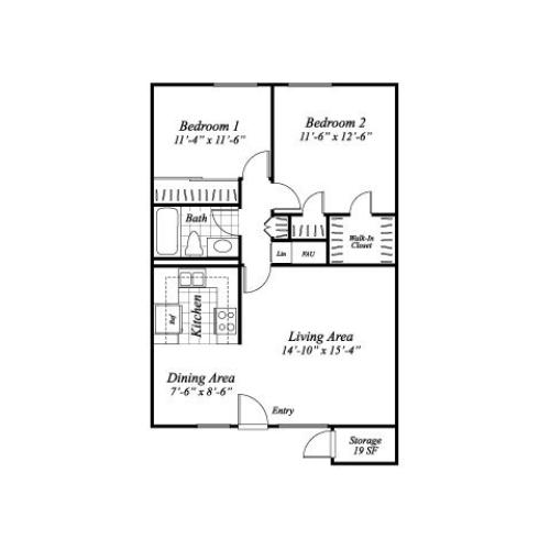 Two bedroom one bathroom B1 floorplan at The Stratton Apartments in San Diego, CA