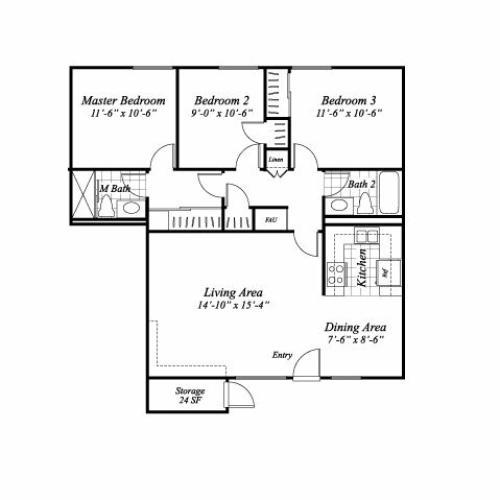Three bedroom two bathroom C1 floorplan at The Stratton Apartments in San Diego, CA
