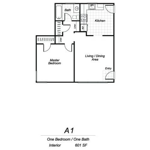 One bedroom one bathroom A1 floorplan at Sutterfield Apartments in Providence, RI