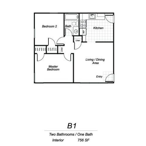 Two bedroom one bathroom B1 floorplan at Sutterfield Apartments in Providence, RI