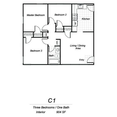 Three bedroom one bathroom C1 floorplan at Sutterfield Apartments in Providence, RI
